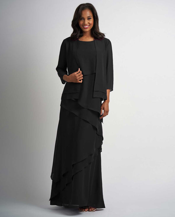 M210001 black Jade Jasmine Layered Chiffon Dress two piece mother of the bride set