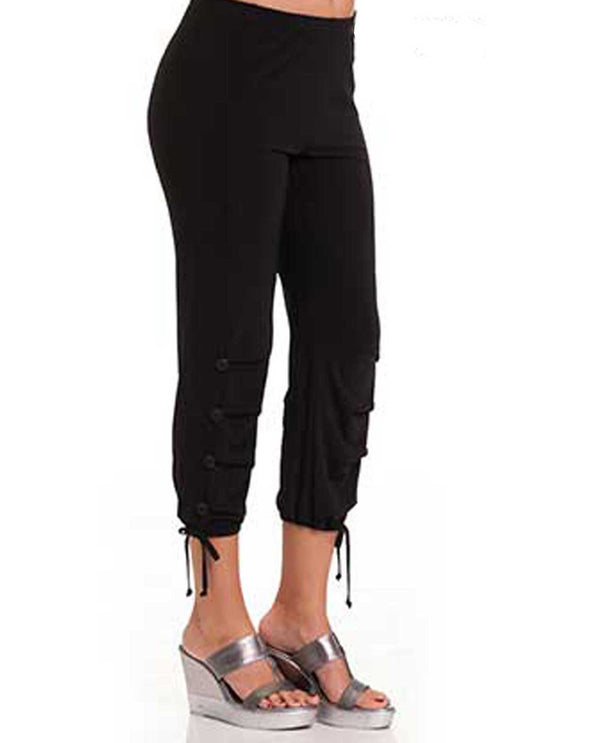 6279 Bali Ankle Capri with Drop Pleats black sporty women's capris with tie around ankle.