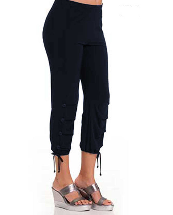 6279 Bali Ankle Capri with Drop Pleats navy sporty women's capris with tie around ankle