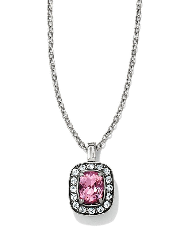 Silver pink Brighton JL6313 Reina Short Necklace with pink Swarovski surrounded by crystal pave