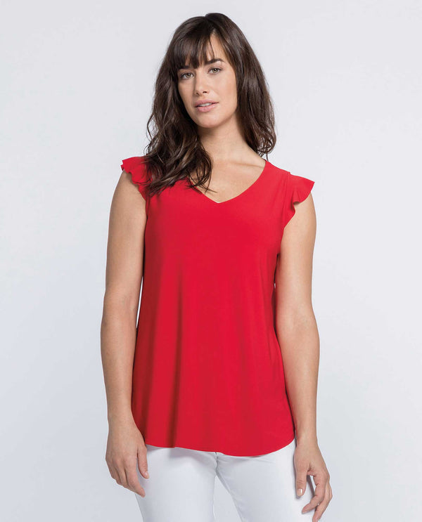 Sympli 21161 Sleeveless Romance Top with ruffle sleeves and V-neck