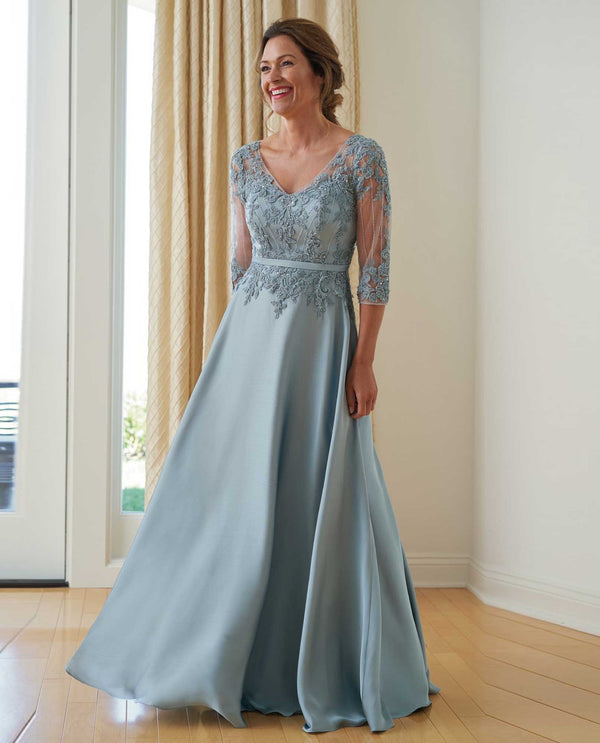 K218008 MHTO Jade Jasmine Satin Dress with Lace Bodice mother of the bride dress