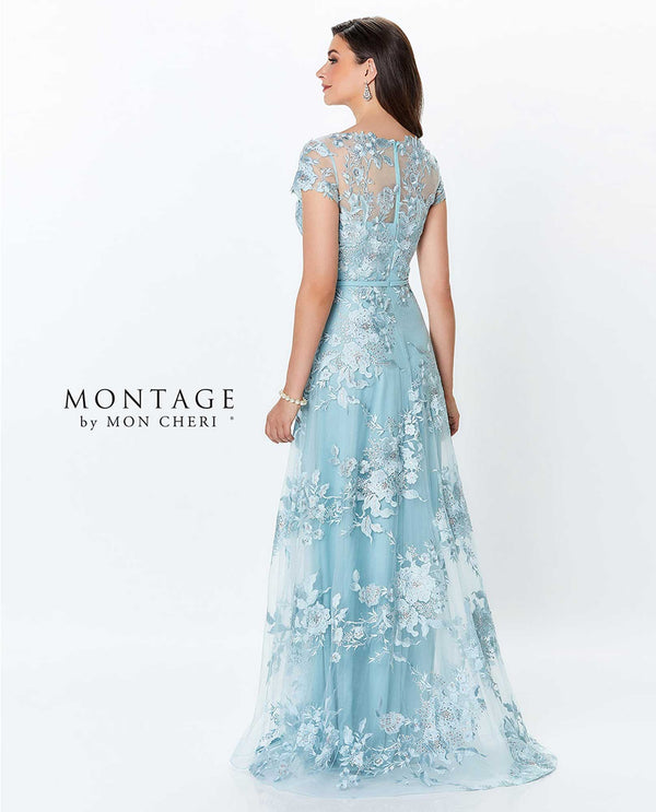 119945 Dark aqua Montage Tulle Embroidered Gown beaded lace mother of the bride gown