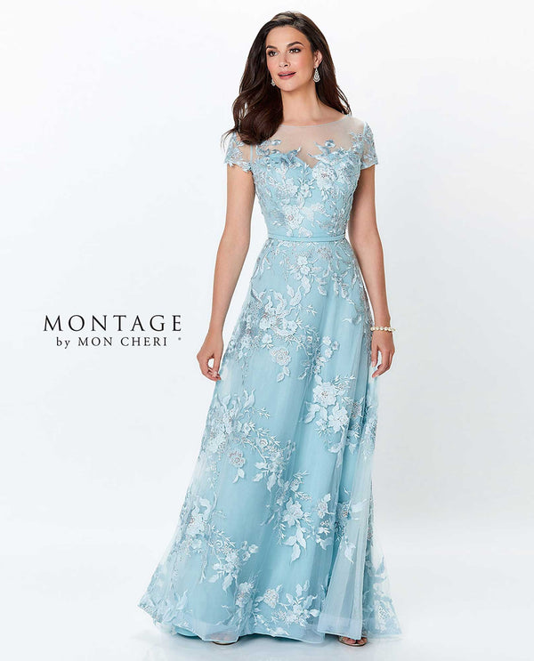 119945 Dark aqua Montage Tulle Embroidered Gown chiffon and lace mother of the bride gown
