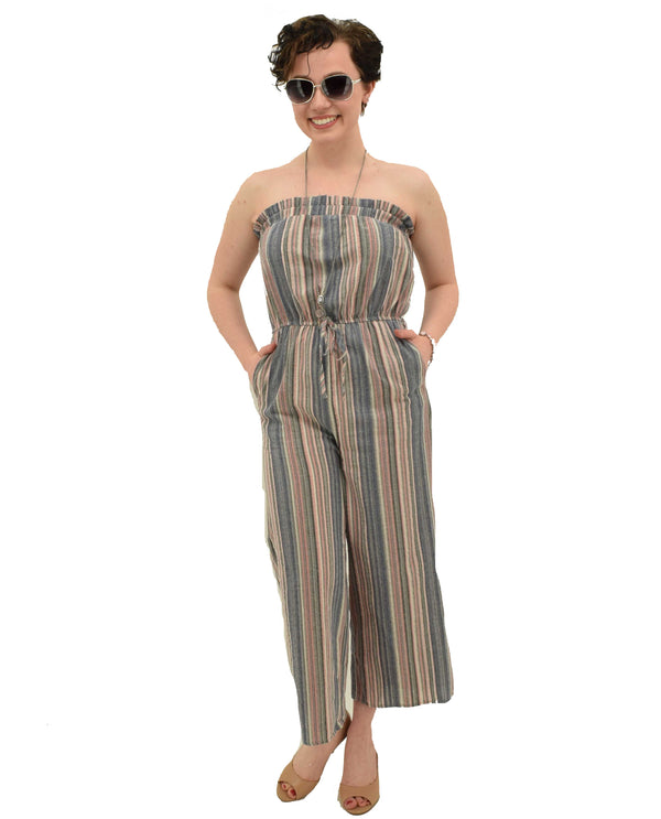 J8842 Multi Promesa Striped Strapless Jumpsuit for women spring style wide leg jumpsuit