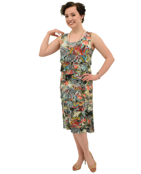A366204 Multi Print Cha Cha Dress colorful sleeveless spring dress with ruffles