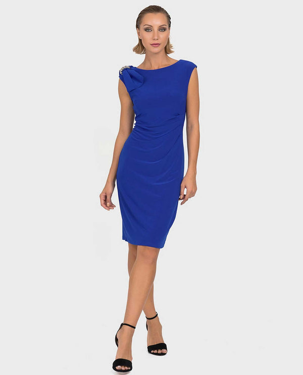Joseph Ribkoff 192013 Bow Trim Shirred Dress Royal Blue