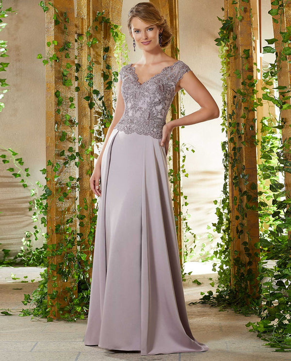 Mori Lee 71906 Beaded Lace Dress with V-Neck Bodice lilac purple mother of the bride dress
