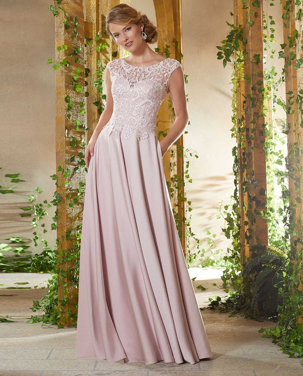 Mori Lee 71932 Beaded Bodice Dress blush pink crepe mother of the bride dress with lace