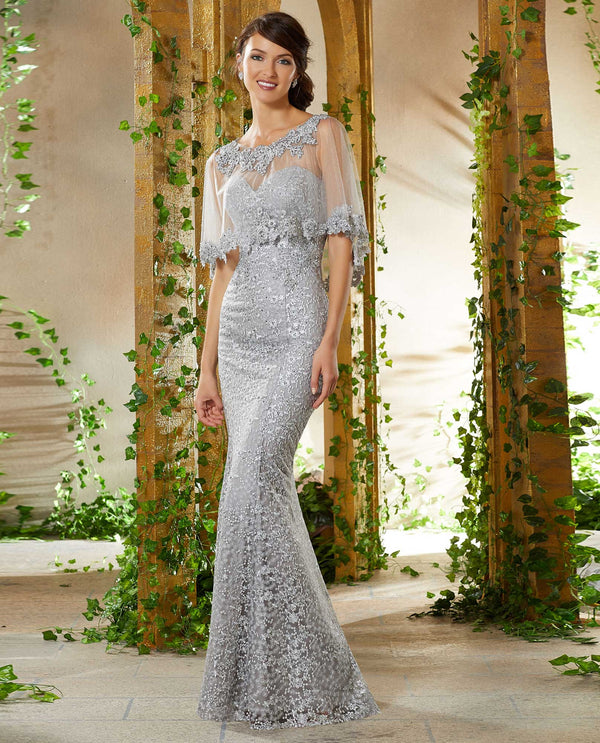 Mori Lee 71936 Allover Lace Dress with Cape Silver strapless mother of the bride gown with cape