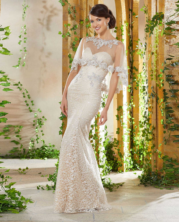 Mori Lee 71936 Allover Lace Dress with Cape Champagne strapless mother of the bride gown