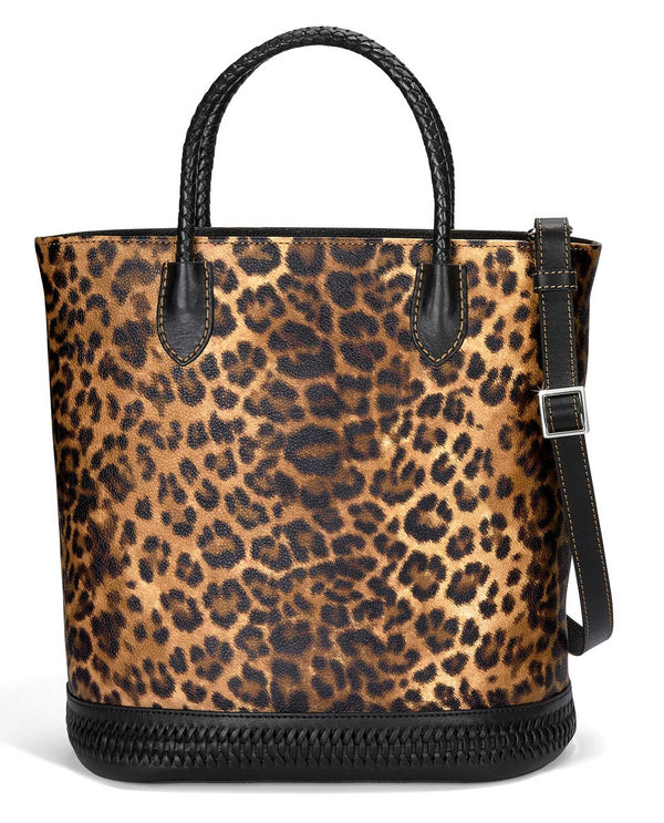 H36753 Brighton Rumi Tall Tote exotic leather leopard print tote with crossbody strap