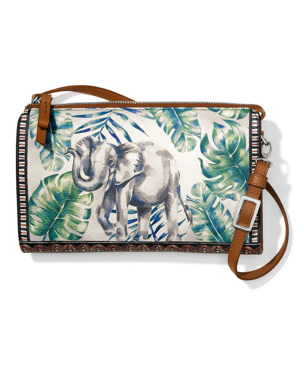 E5278M Brighton Africa Stories Pouch leather crossbody pouch with elephant design
