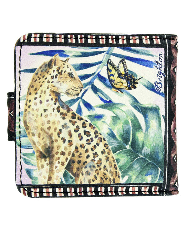G8272M Brighton Africa Stories Snappy Mirror leather compact mirror with exotic leopard print