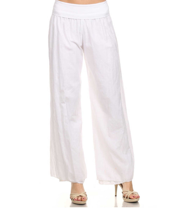CVO71597 White T Party Voile Wide Leg Pant comfortable women's pants with draped legs