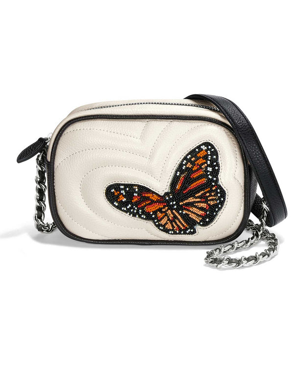 black white H15193 Brighton Cherise Mini Camera Bag leather bag with beaded monarch butterfly