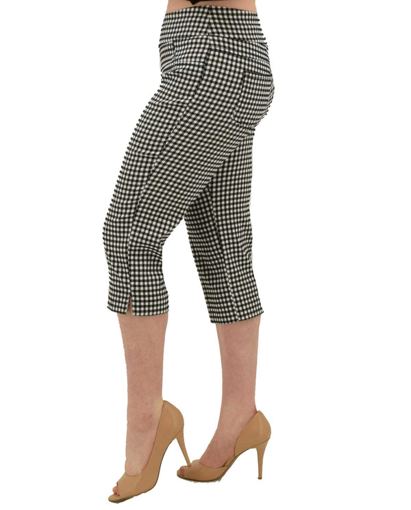 Black white Ruby Rd 55393 Gingham Stretch Capri with flattering pull on waistband