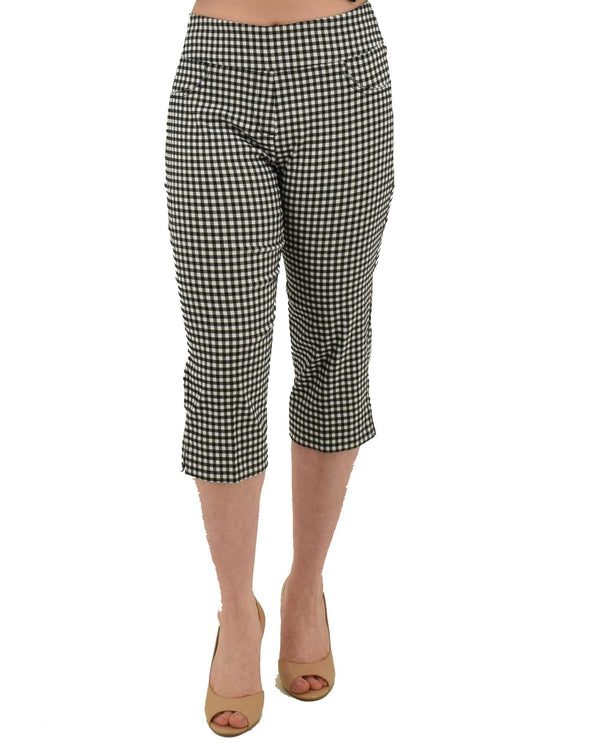 Black white Ruby Rd 55393 Gingham Stretch Capri with faux front pockets