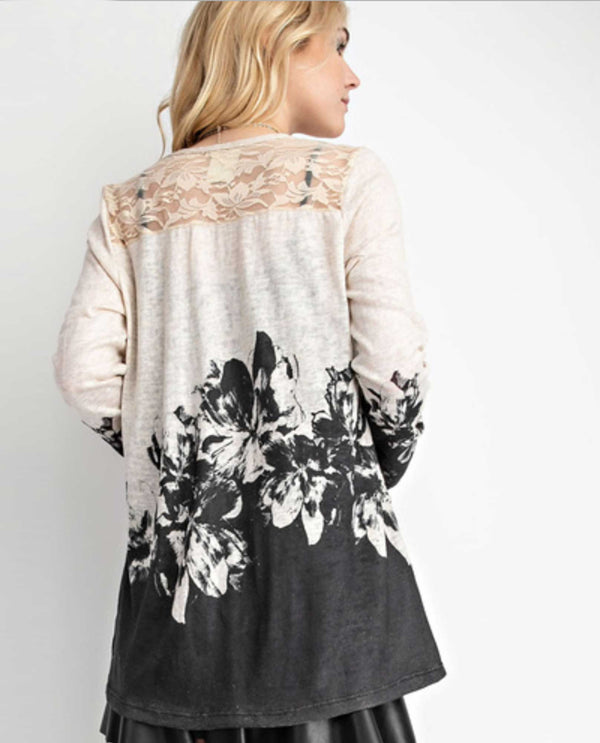 17531LC Oatmeal Vocal Lace Accent Print Cardigan long sleeve cardigan with rhinestones