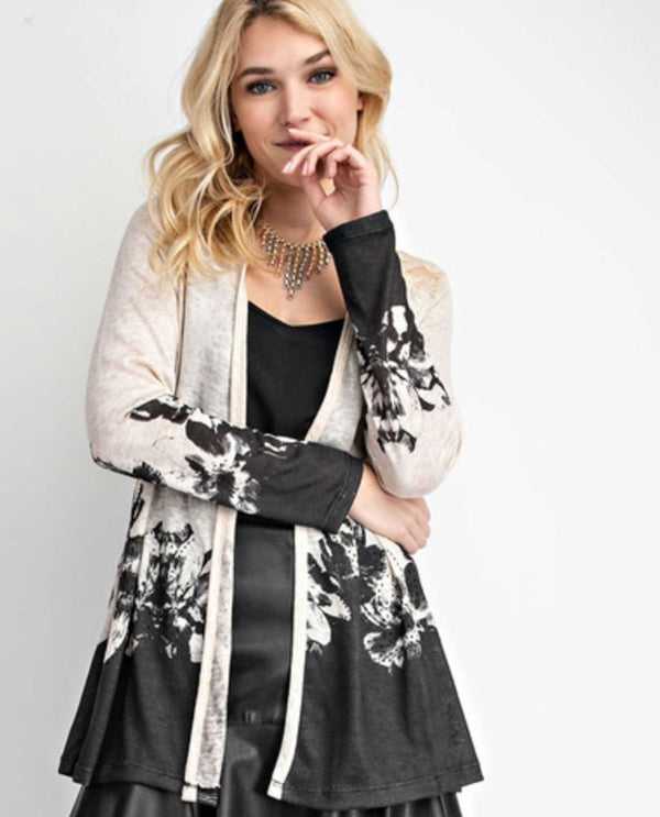 17531LC Oatmeal Vocal Lace Accent Print Cardigan long sleeve cardigan with black floral print