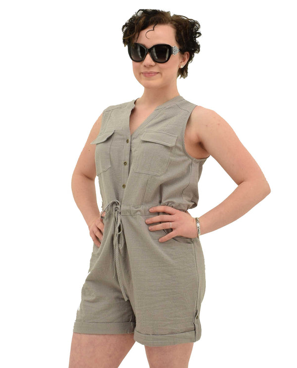 JPJ8995 Grey Promesa Stripe Short Romper