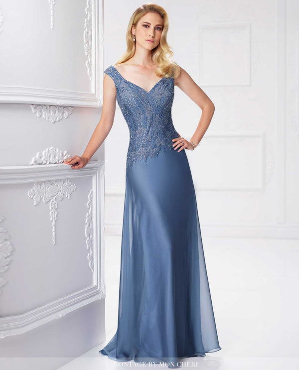 117903 Wedgewood Blue Montage Sleeves Beaded Bodice Gown Plus Size mother of the bride gown