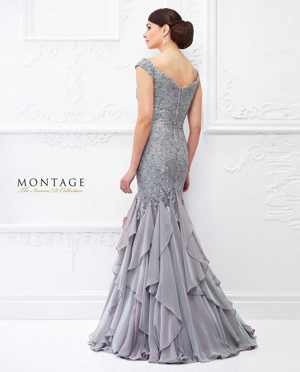118D01 PPHZ Montage Beaded Trumpet Drop Waist Gown purple ruffled mother of the bride gown