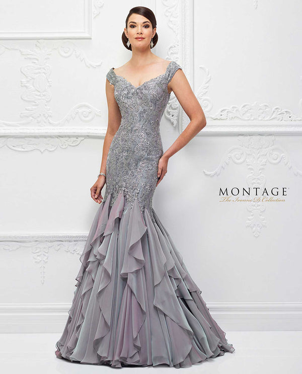 Purple Haze 118D01 Montage Beaded Trumpet Drop Waist Gown wide v-neck ruffled mother of the bride gown