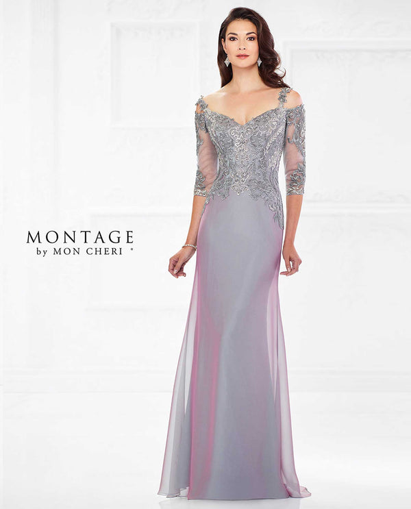 118974 PPHZ Montage Off Shoulder Lace Bodice Gown mother of the bride gown with lace sleeves