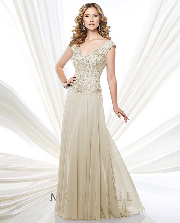 215914 Champagne Montage Beaded Illusion Cap Sleeve Gown chiffon mother of the bride dress