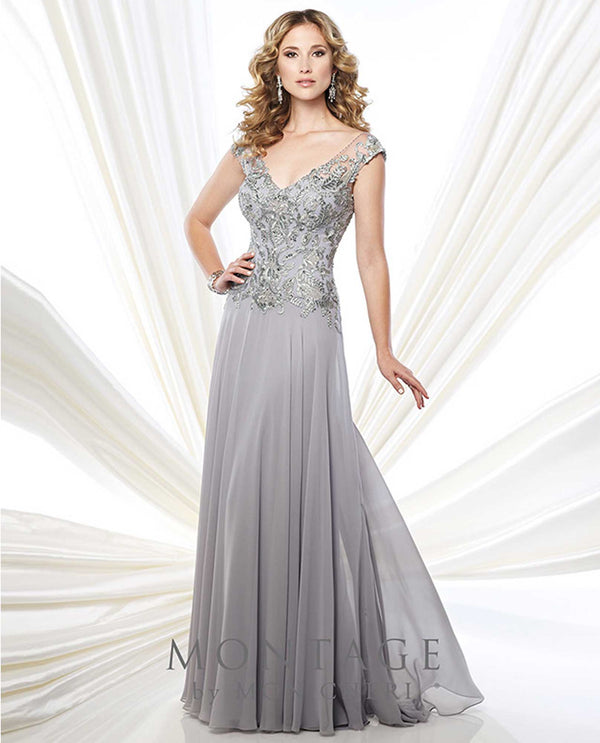 215914 Silver Montage Beaded Illusion Cap Sleeve Gown chiffon lace mother of the bride gown