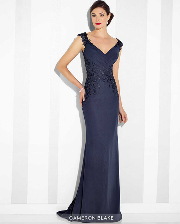 117616 Navy Cameron Blake Lace Trim Cap Sleeve Gown mother of the bride gown with lace