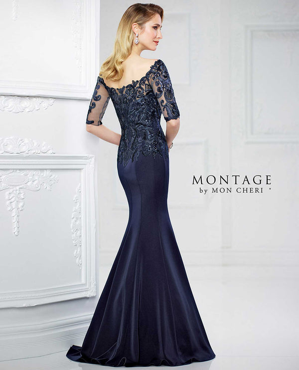 217937 Navy Montage Lace Bodice Drop Waist Gown mermaid mother of the bride gown with 3/4 sleeves