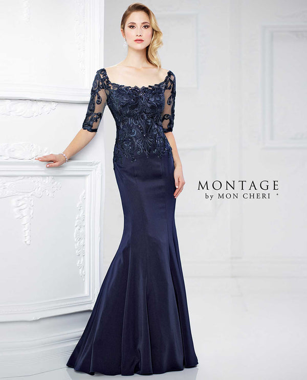 217937 Navy Montage Lace Bodice Drop Waist Gown mermaid style lace mother of the bride gown