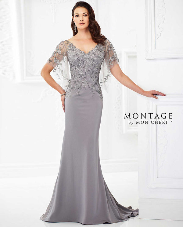 118967 Pewter Montage Crepe with Lace Bodice Gown hand beaded mother of the bride with cape