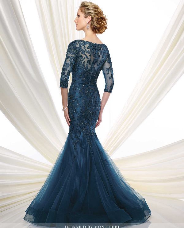 47e4cf50bf4949 216D50 Peacock Montage Tulle Lace Trumpet Gown mother of the bride trumpet  gown with lace back ...