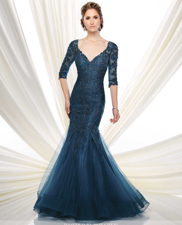 216D50 Peacock Montage Tulle Lace Trumpet Gown mother of the bride trumpet gown with beading