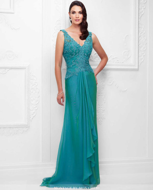 117909 Patina Montage V-Neck Gown lace v-neck mother of the bride gown with hand beading
