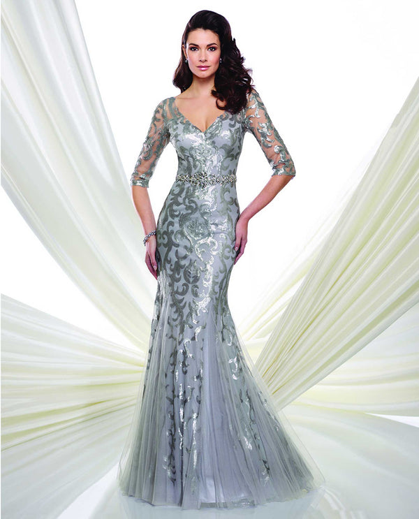 216971 Silver Montage 3/4 Sleeve Sequin Trumpet Gown mother of the bride gown with sequins
