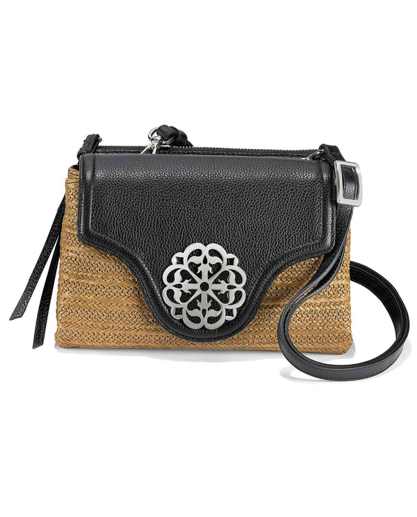 H73443 Brighton Eve Straw Messenger Cross Body black leather and straw crossbody bag