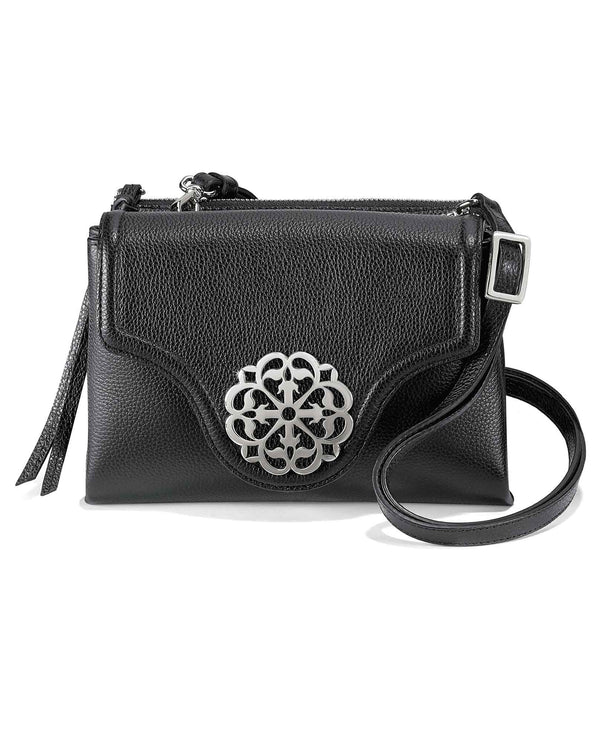 Brighton H36823 Eve Messenger Cross Body black leather crossbody bag with silver medallion