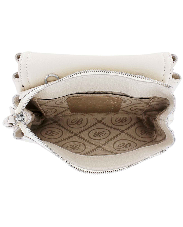 Brighton H36822 Eve Messenger Cross Body white leather crossbody bag with zippered compartments