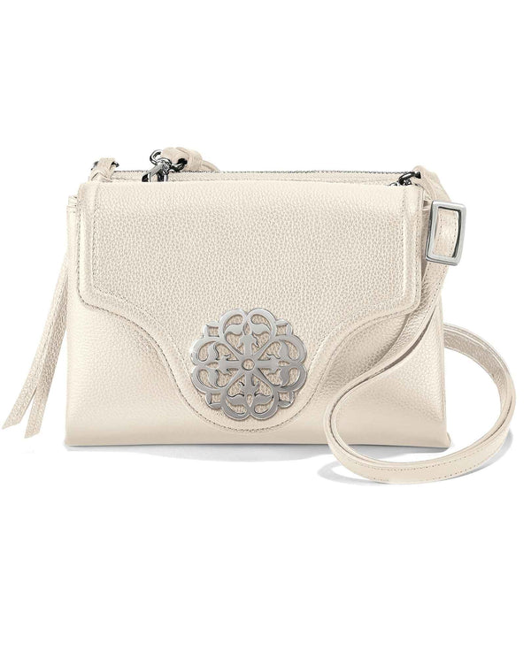 Brighton H36822 Eve Messenger Cross Body white leather crossbody bag with silver medallion
