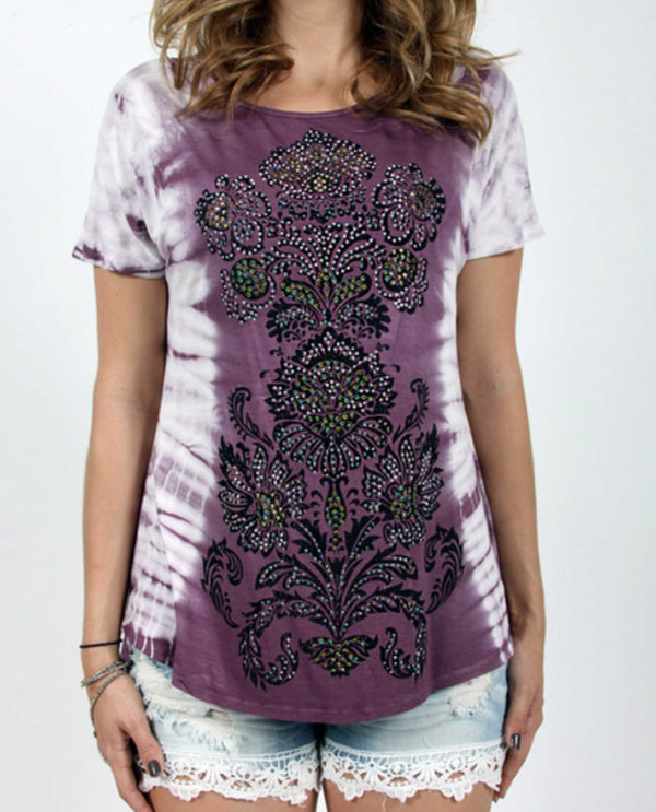 10462S Mauve Vocal Print Short Dolman Sleeve Top purple and white tie-dye top with rhinestones