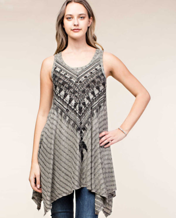 16077T Taupe Vocal Print Tank Dress with Stones western print tunic dress for women USA Made