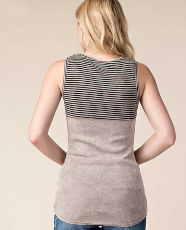 17330T Taupe Vocal Striped Print Tank Top with Stones tank top with stripes and rhinestones