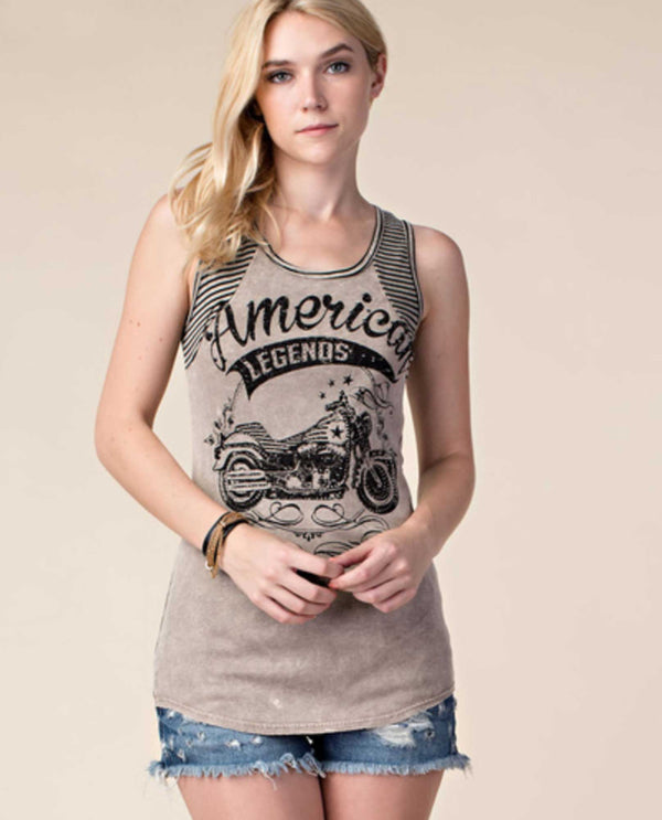 17330T Taupe Vocal Striped Print Tank Top with Stones motorcycle print with rhinestones USA Made