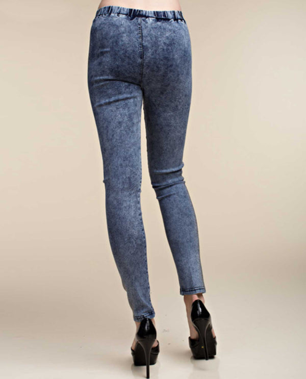 IM0700P Denim Vocal Jeans with Stones acid wash jeggings with elastic waist