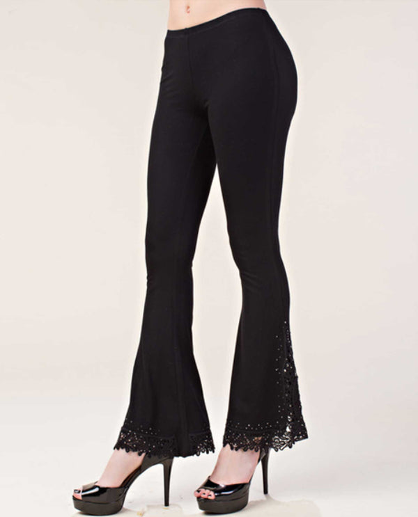 IM0854P Black Vocal Lace Bottom Pull on Pants elastic bell bottom pants with lace bottoms