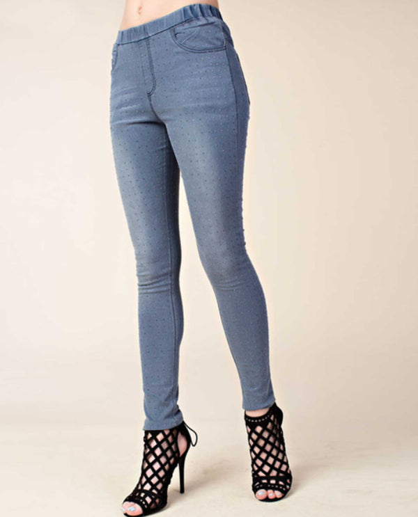 1326b887011eb ... IM1072P Denim Vocal All Over Stone Jeans elastic waist jeans with  rhinestones embellished